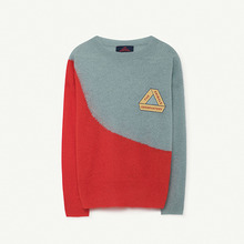 Bicolor Bull Kids Sweater - Soft Blue Triangle