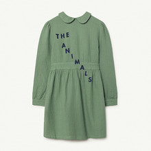Canary Kids Dress - Green White The Animals