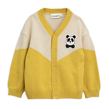 Panda Knitted Wool Cardigan - Yellow