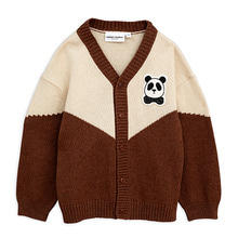 Panda Knitted Wool Cardigan - Brown