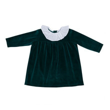 Lorena Velour Dress With Ruffle - Emerald
