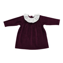 Lorena Velour Dress With Ruffle -Grape Wine
