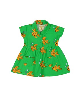 Collared Pocket Dress - Green Fish ★ONLY 4Y★