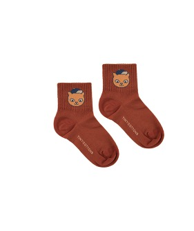 Cat Medium Socks - Dark Brown/Brown