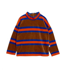 Velour Stripe Sweatshirt - brown