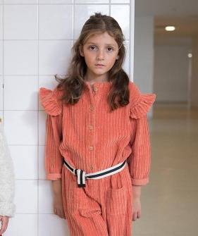 Jumpsuit With Frills On Shoulders - Coral Corduroy