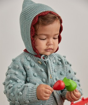 Scallop Bonnet - Sage/Brick ★ONLY 12-24M★