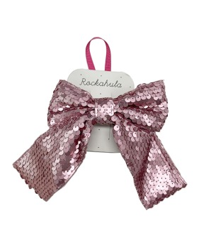 Super Sequins Bow Clip - Pink