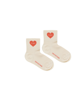 Heart Quarter Socks - Light Cream/Red