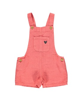 Short Dungarees - Coral Linen