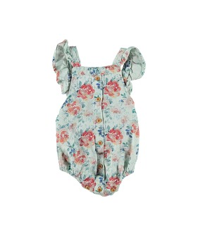 Baby Romper With Frills On Shoulders - Greenwater & Flowers