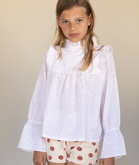Ruffle Blouse (423) - Milk