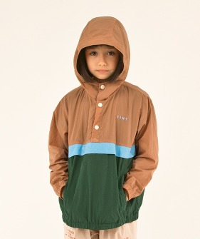 Color Block Pullover - Tan/Olive Dark Green