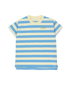 Tiny Stripes Tee - Lemonade/Cerulean Blue