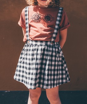 Skirt suspenders Block Check - Black