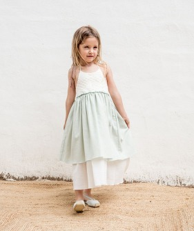 V07-Dress Combi -  Aquamarine+ Beige ★ONLY 6Y★