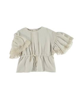 B04-Blouse Butterfly Sleeve - Dark Beige