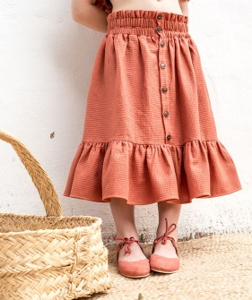 F02-Skirt Ruffle - Engraved  Terracotta