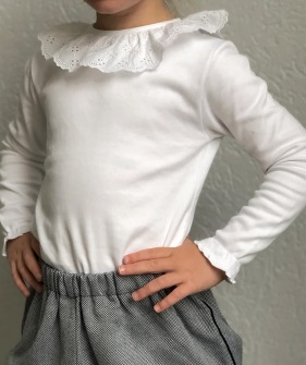 English Embroidery Collar LS Top - White ★ONLY 6Y★