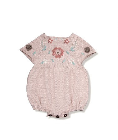 Flora Summer Romper - Dusty Pink With Floral Embroidery