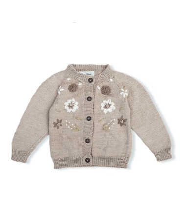 Flora Summer Cardigan - Nude With Floral Embroidery ★ONLY 4Y★