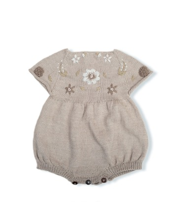 Flora Summer Romper - Nude With Floral Embroidery ★ONLY 12-18M★