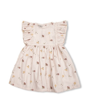 Uniqua Dress - Dusty Pink With Flower Badge