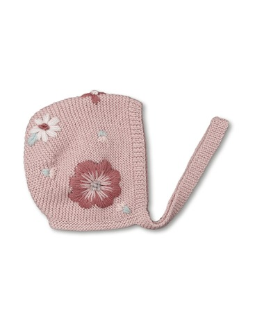Flora Summer Bonnet - Dusty Pink With Floral Embroidery
