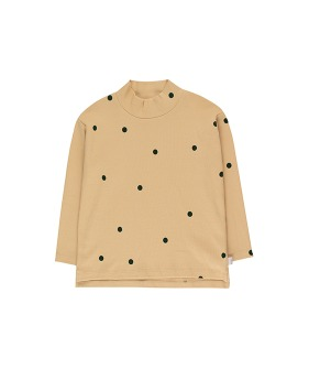 """Dots"" Mockneck Tee - Cappuccino/Dark Green ★ONLY 8Y★"