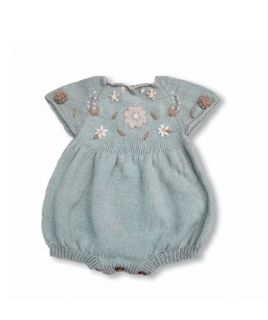 Flora Summer Romper - Duck Blue With Floral Embroidery