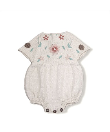 Flora Summer Romper - Cream White With Floral Embroidey