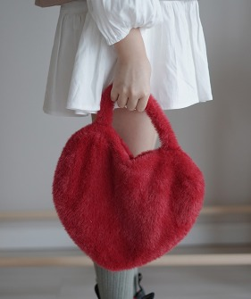 Faux Fur Bag - Red