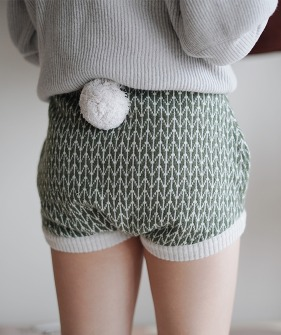 Shorts With Pompom - Green