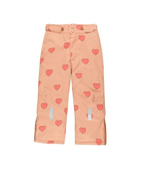 """Hearts"" Snow Pant - Tan/Red"