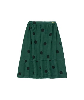 """Big Dots"" Long Skirt - Dark Green/Black"