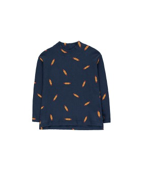 """Peanuts"" Mockneck Tee - Light Navy/Deep Yellow"