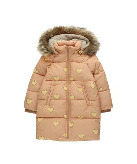 """Hearts"" Padded Jacket - Camel/Yellow"