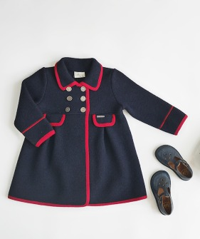 Pleated Double Breast Wool Coat- #3237 Navy & Red