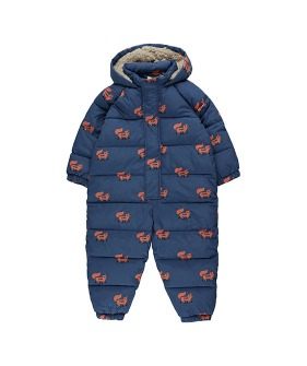 """Foxes"" Padded One-Piece - Light Navy/Sienna ★ONLY 4Y★"