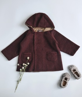 Double Button Coat - Burgundy