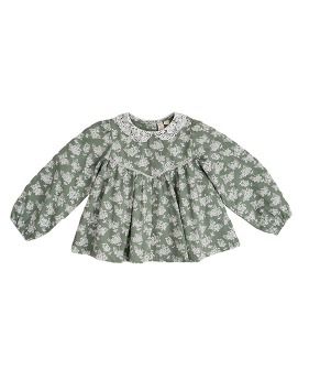 Marcie Blouse - Green Hydrangea Floral With Cotton Lace Collar
