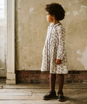 Agatha Dress - Wild Posey Floral In Nut ★ONLY 3-4Y★