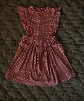 Apron Dress - Ecru Dots