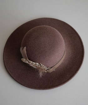 Feather Felt Hat - Brown