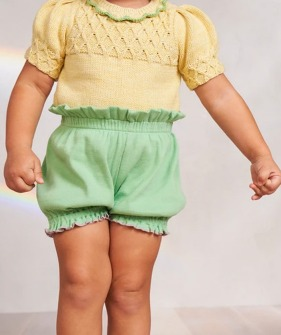 Ribbed Bubble Shorts - Peapod ★ONLY 4-5Y★