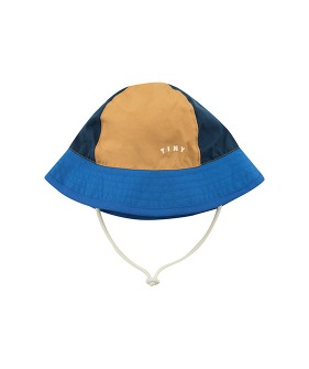◆2DROP◆ Tiny Color Block Bucket Hat - Ink Blue/Iris Blue