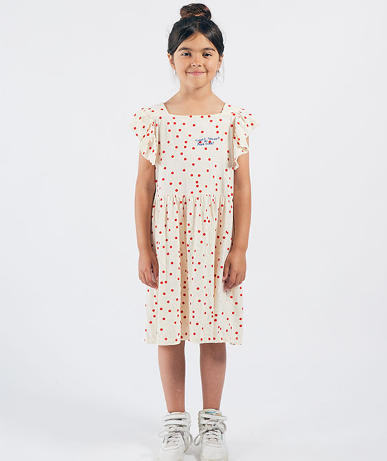 Dots Jersey Ruffle Dress (Kid) #01118