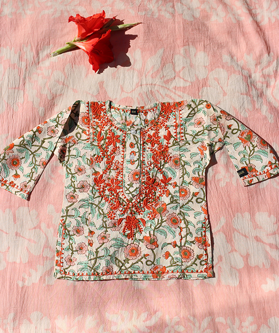 Embroidered Blouse - Flower block ★ONLY 2Y★
