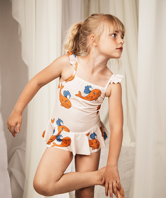 Whale Skirt Swimsuit - Orange ★ONLY 104/110 (4-5Y)★