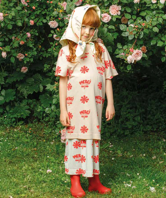 Dragon Kids Dress - Toasted Almond Flowers